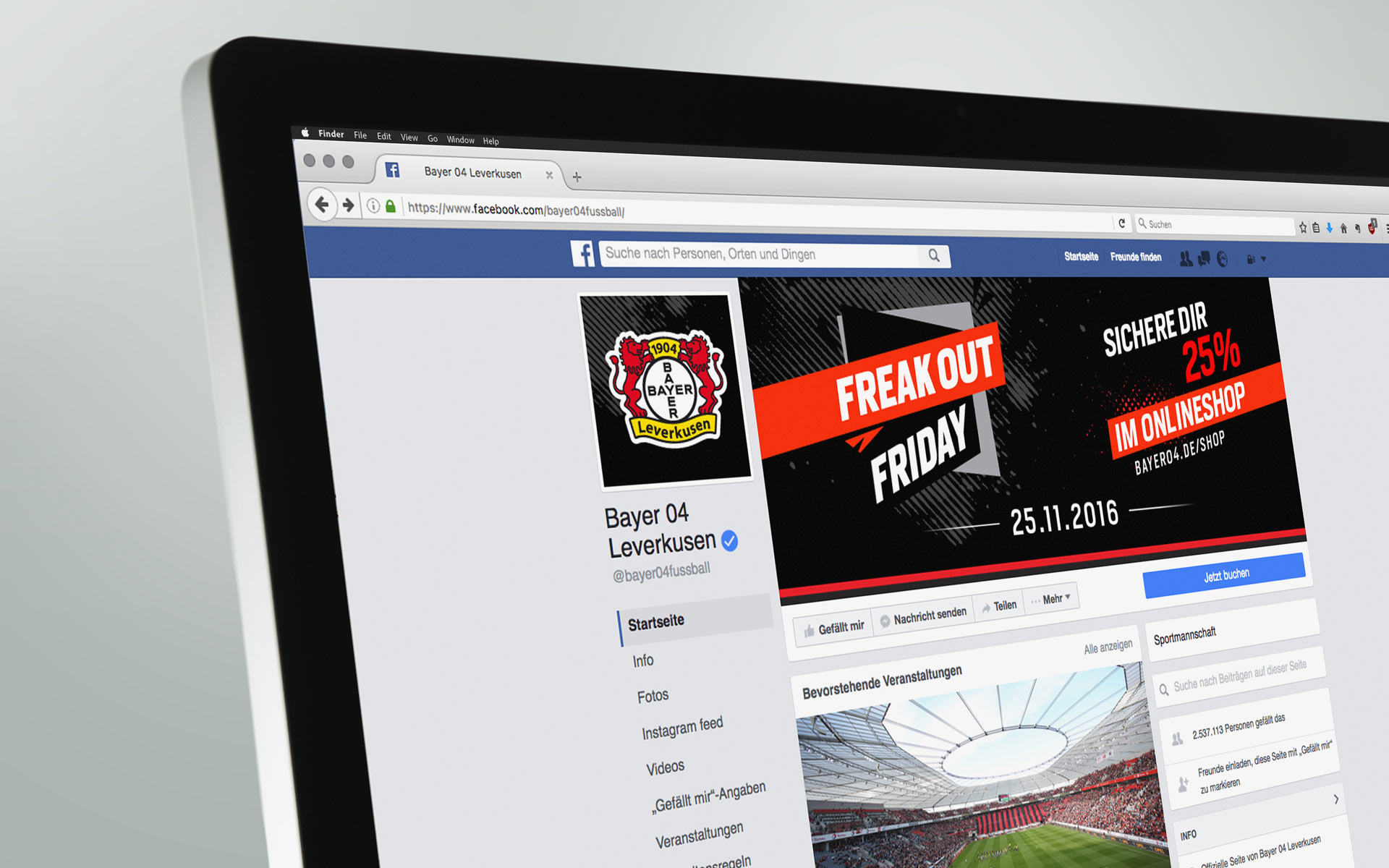 "Saleskampagne ""Freakout Friday"", Bayer 04 Leverkusen, Markenkommunikation, Corporate Design, Facebook Auftritt"