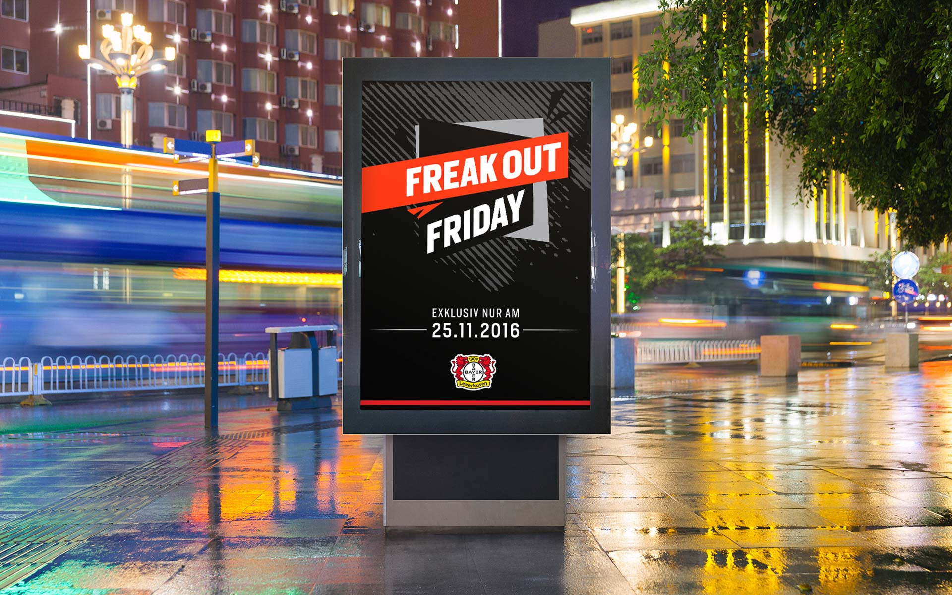 "Saleskampagne ""Freakout Friday"", Bayer 04 Leverkusen, Markenkommunikation, Corporate Design, Citylight"