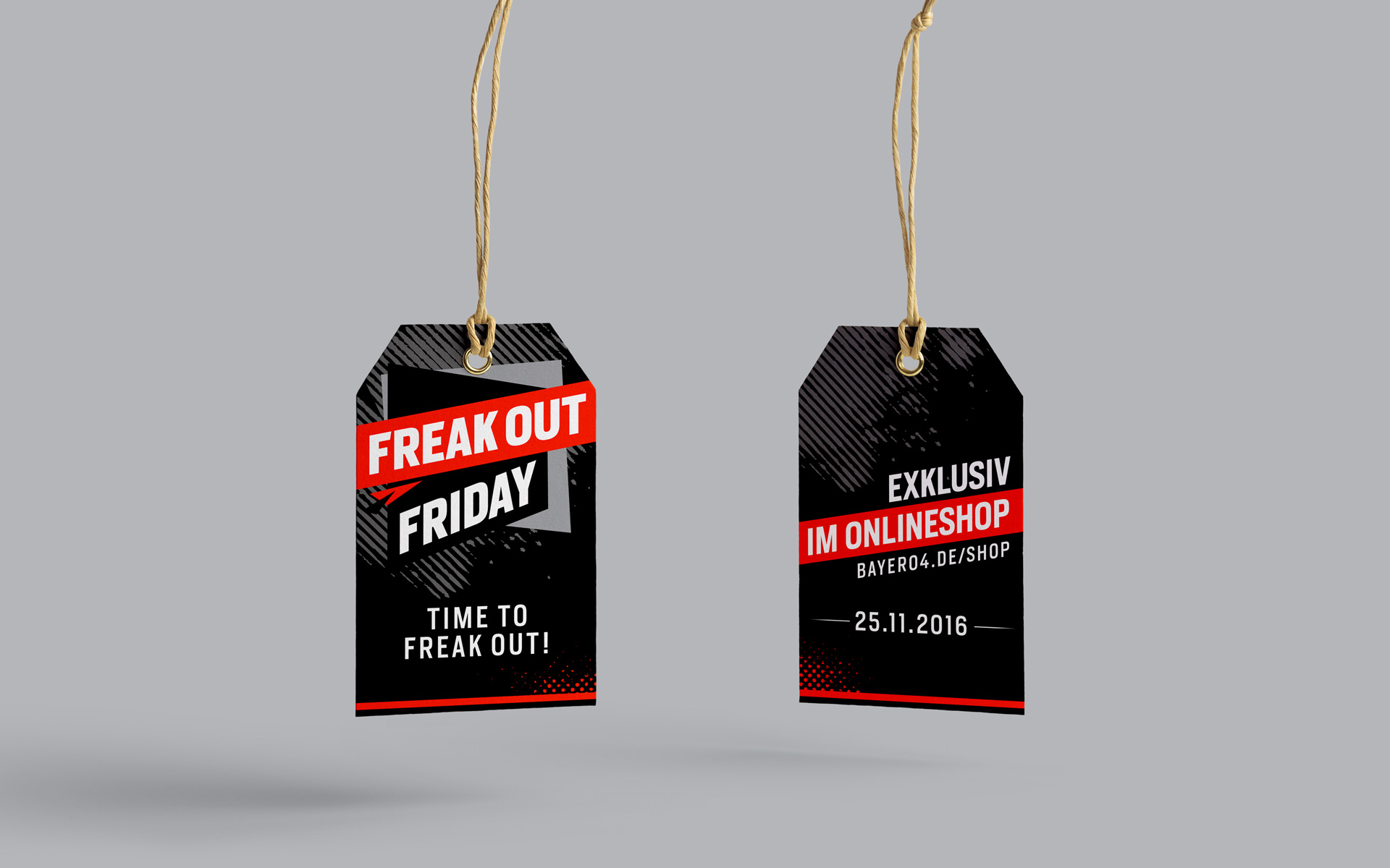 "Saleskampagne ""Freakout Friday"", Bayer 04 Leverkusen, Markenkommunikation, Corporate Design, Hangtag"