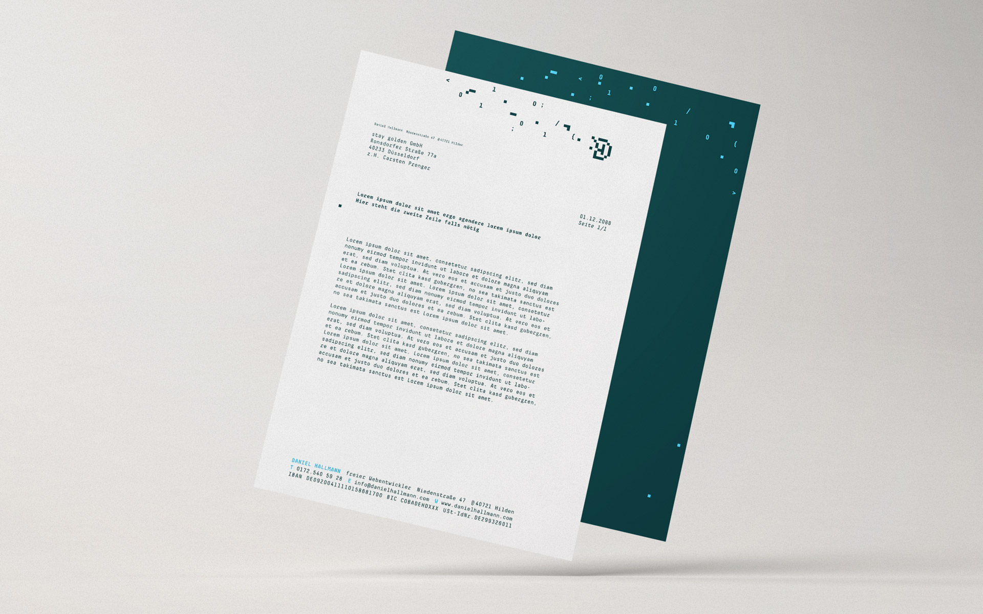 Daniel Hallmann Corporate Design, Stationery, Briefbogen