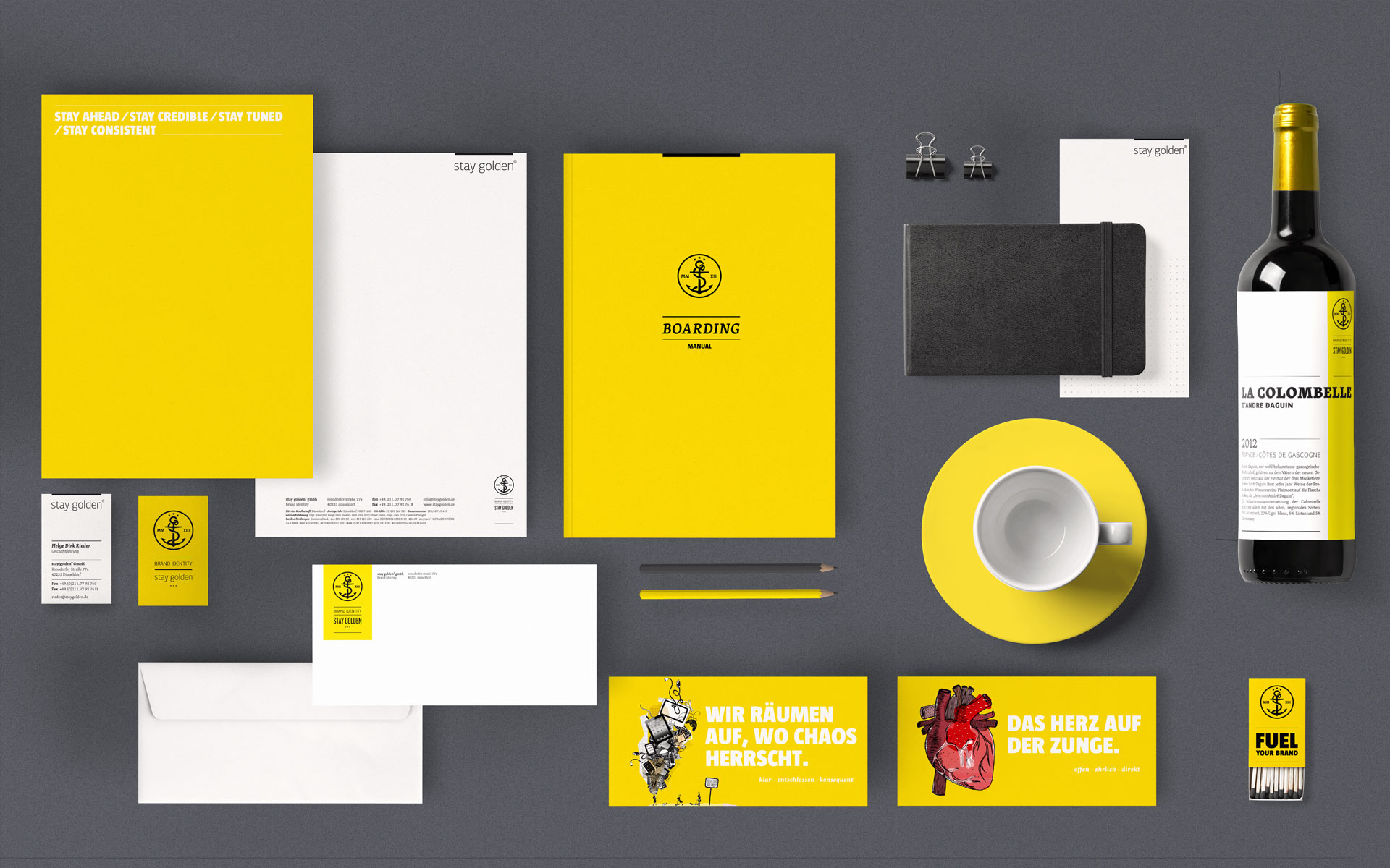 stay golden Brand Identity, Corporate Design, Geschäftsausstattung