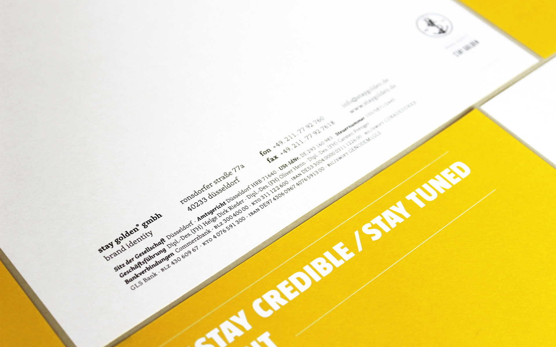 stay golden Brand Identity, Corporate Design, Briefbogen