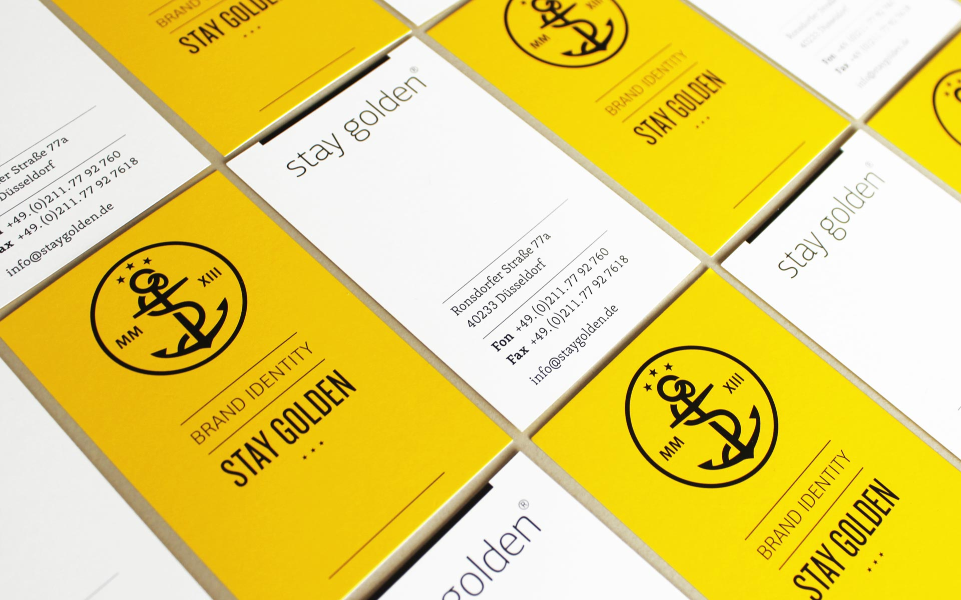 stay golden Brand Identity, Corporate Design, Visitenkarten