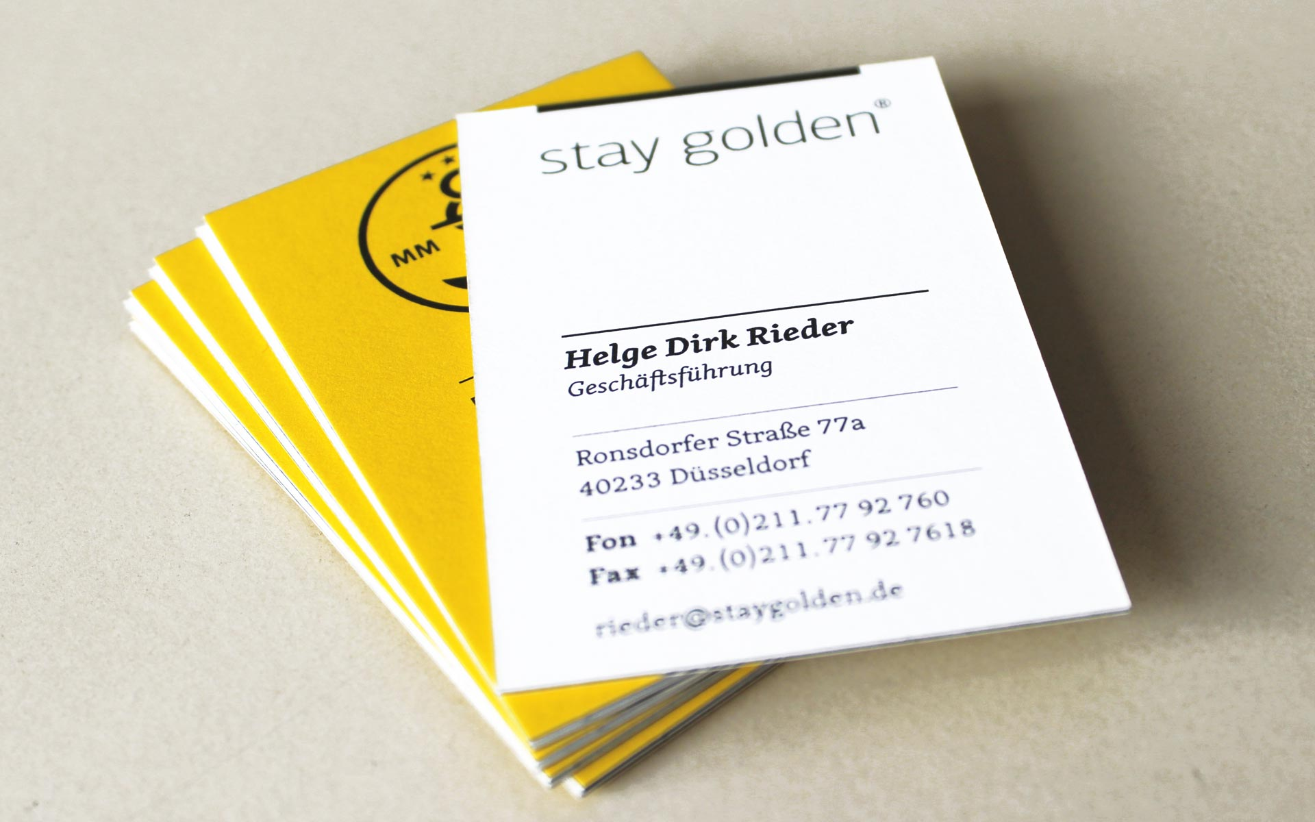 stay golden Brand Identity, Corporate Design, Visitenkarte