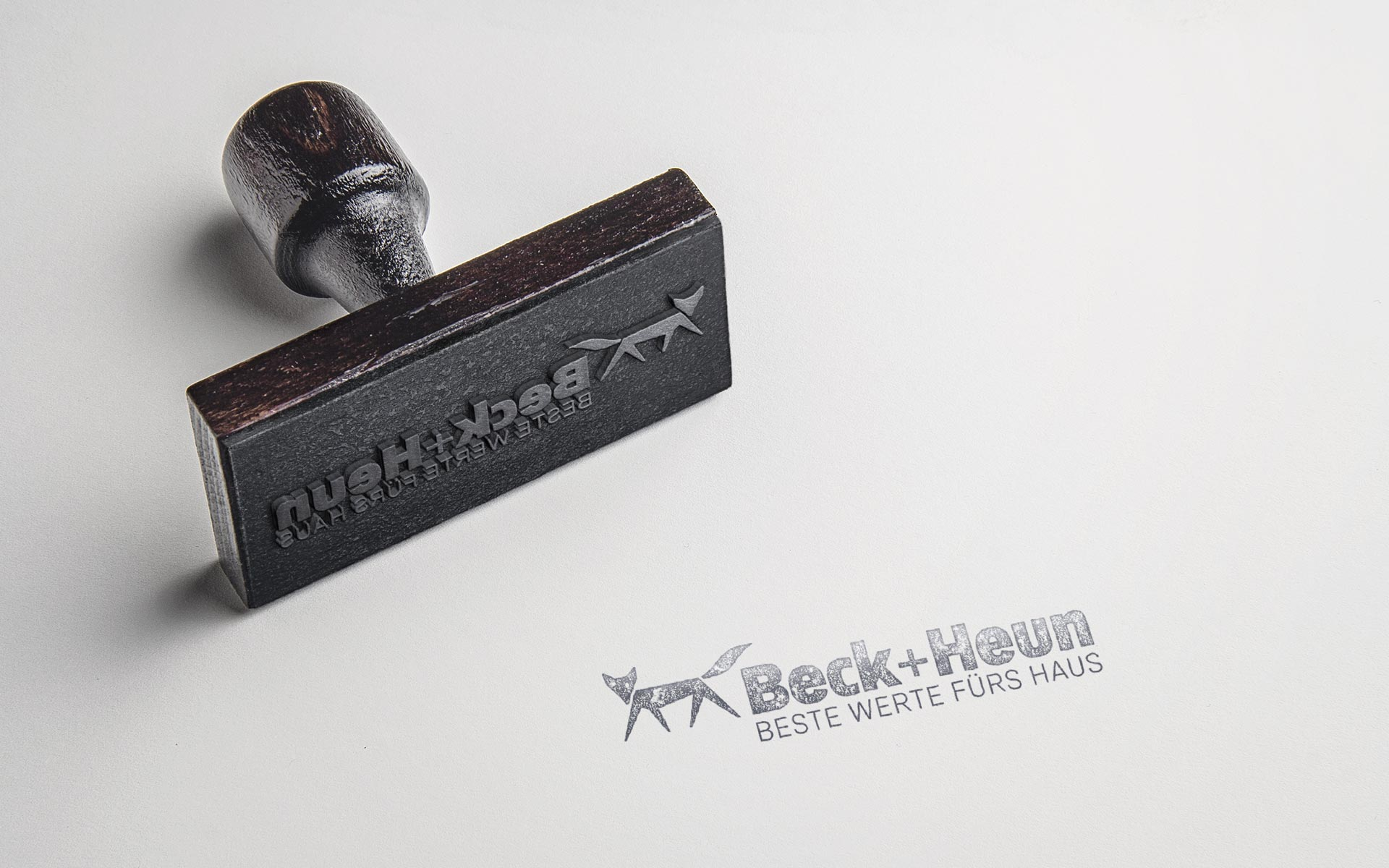 Beck+Heun Corporate Design, Markenkommunikation, Stationery, Stempel mit Logotype