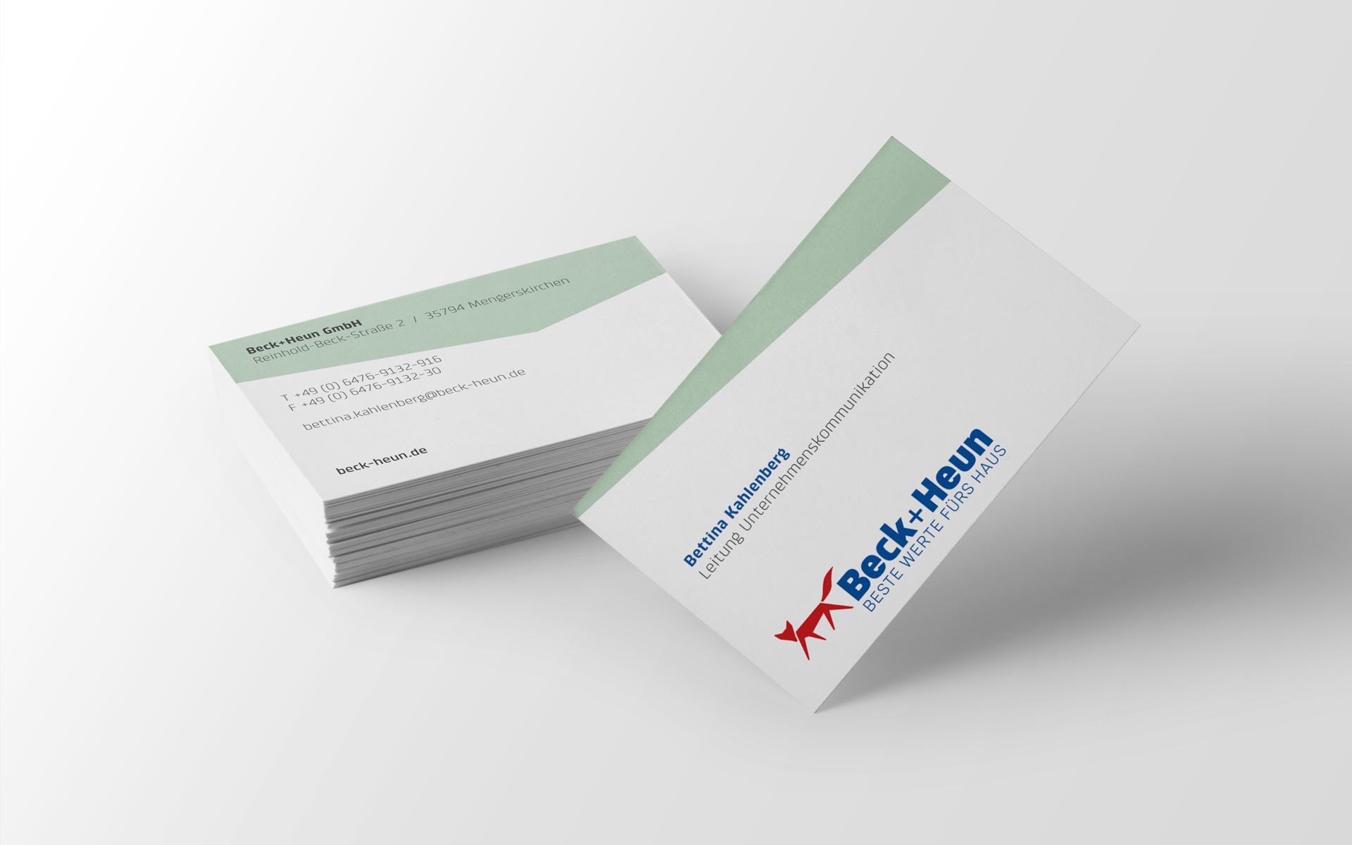 Beck+Heun Corporate Design, Markenkommunikation, Visitenkarten