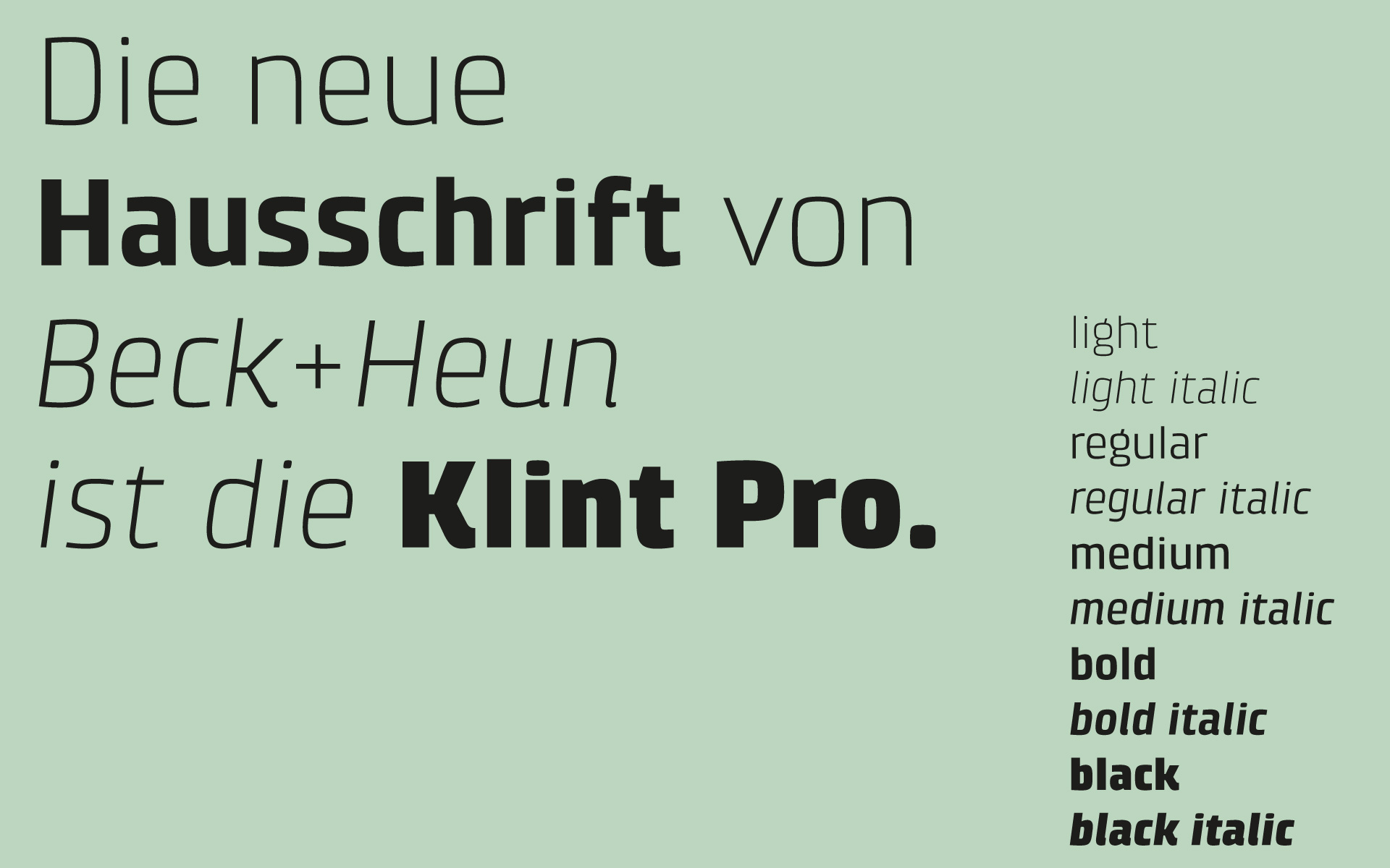 Beck+Heun Corporate Design, Markenkommunikation, Corporate Typeface