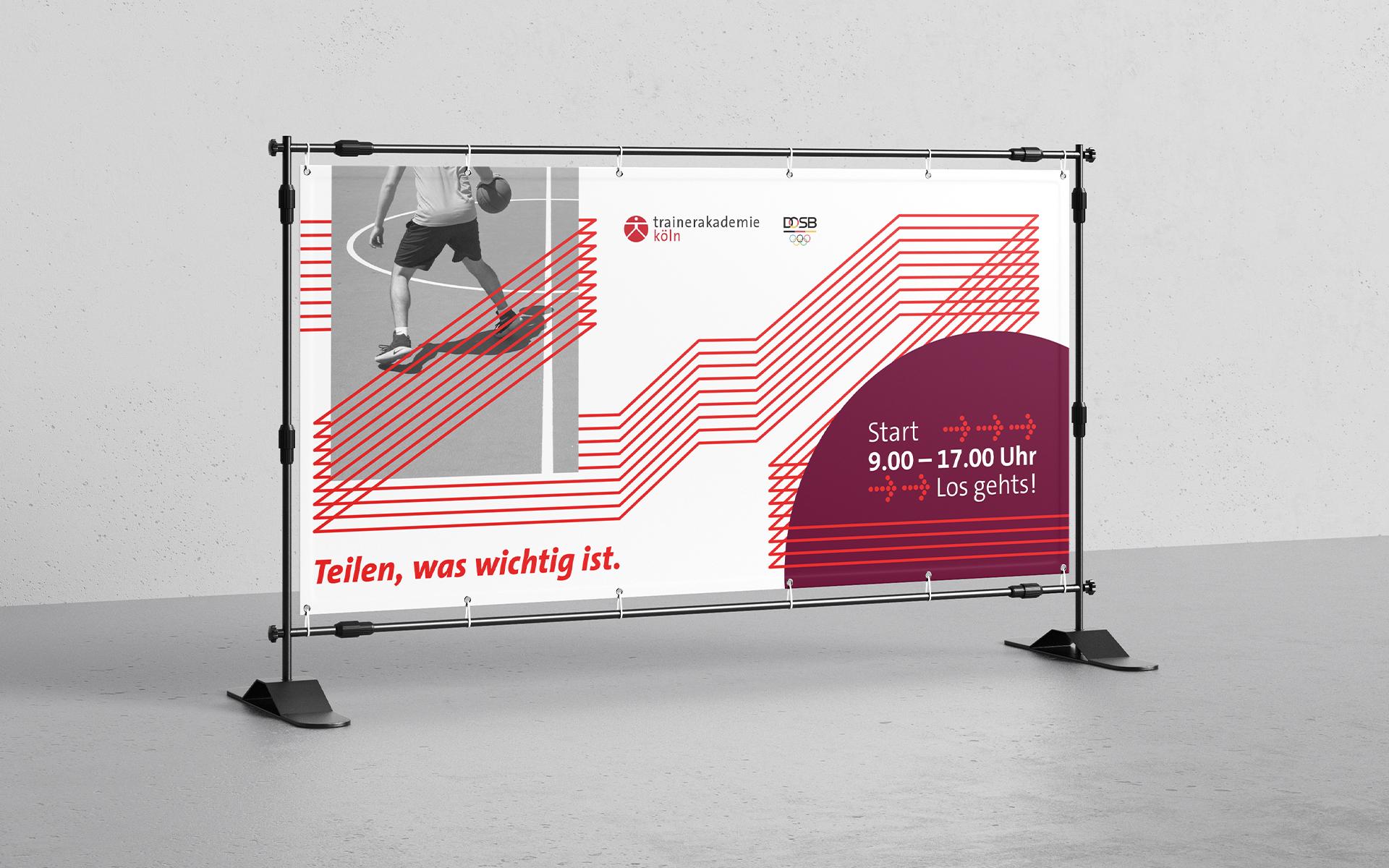Trainerakademie Köln Corporate Design, Werbewand, Messewand