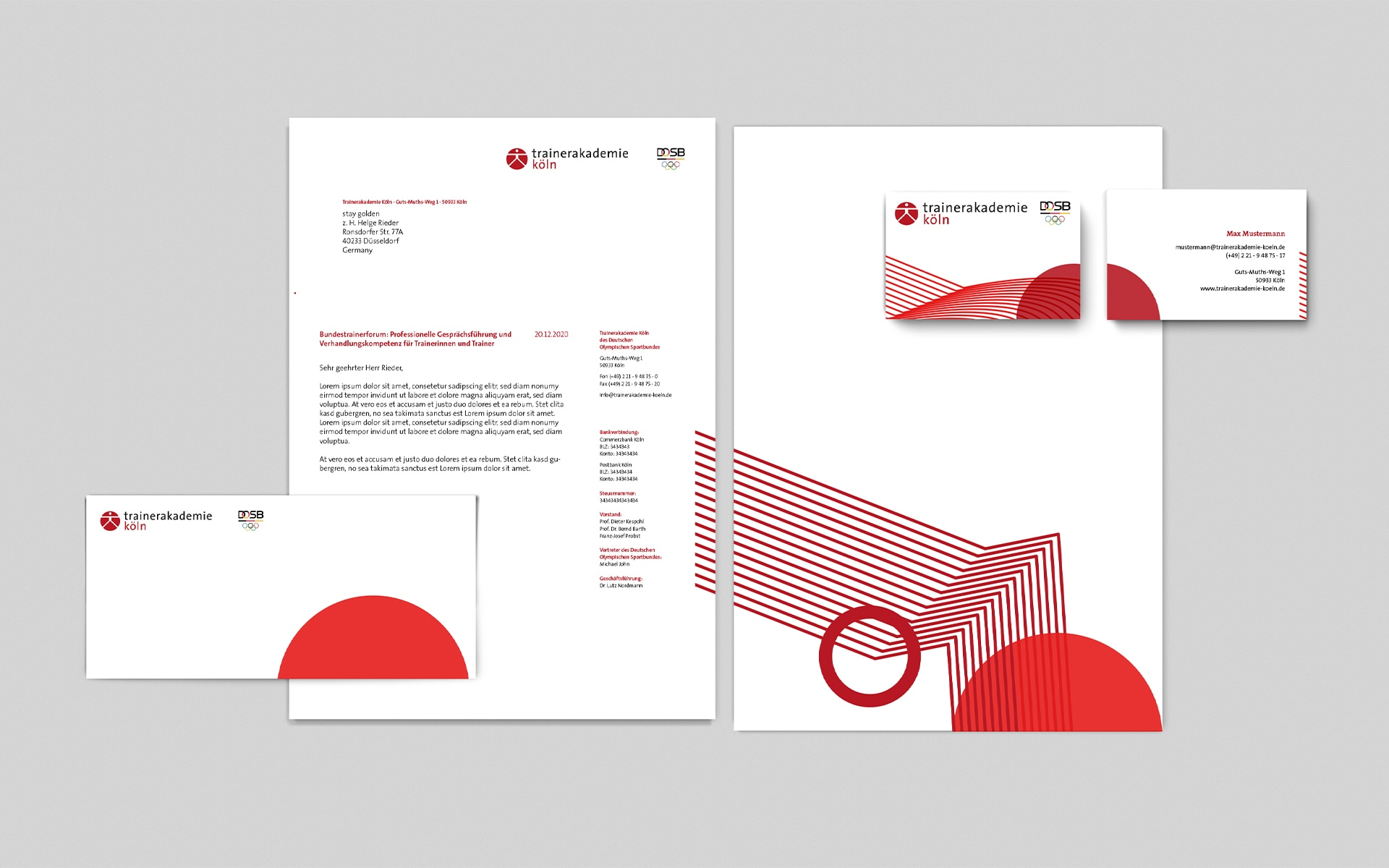 Trainerakademie Köln Corporate Design, Geschäftsausstattung