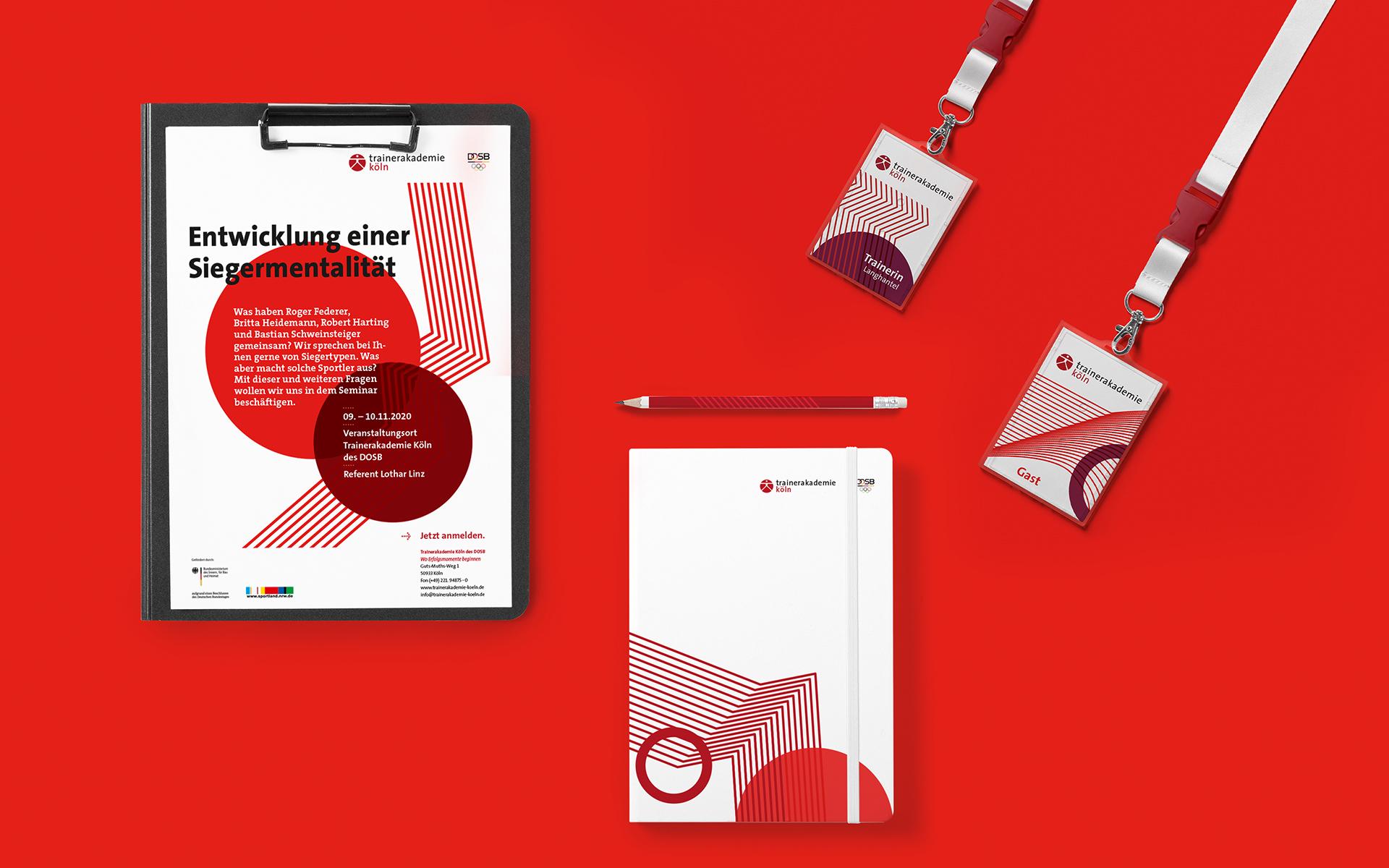 Trainerakademie Köln Corporate Design, Geschäftsausstattung, Notizblock und Mitarbeiterausweis