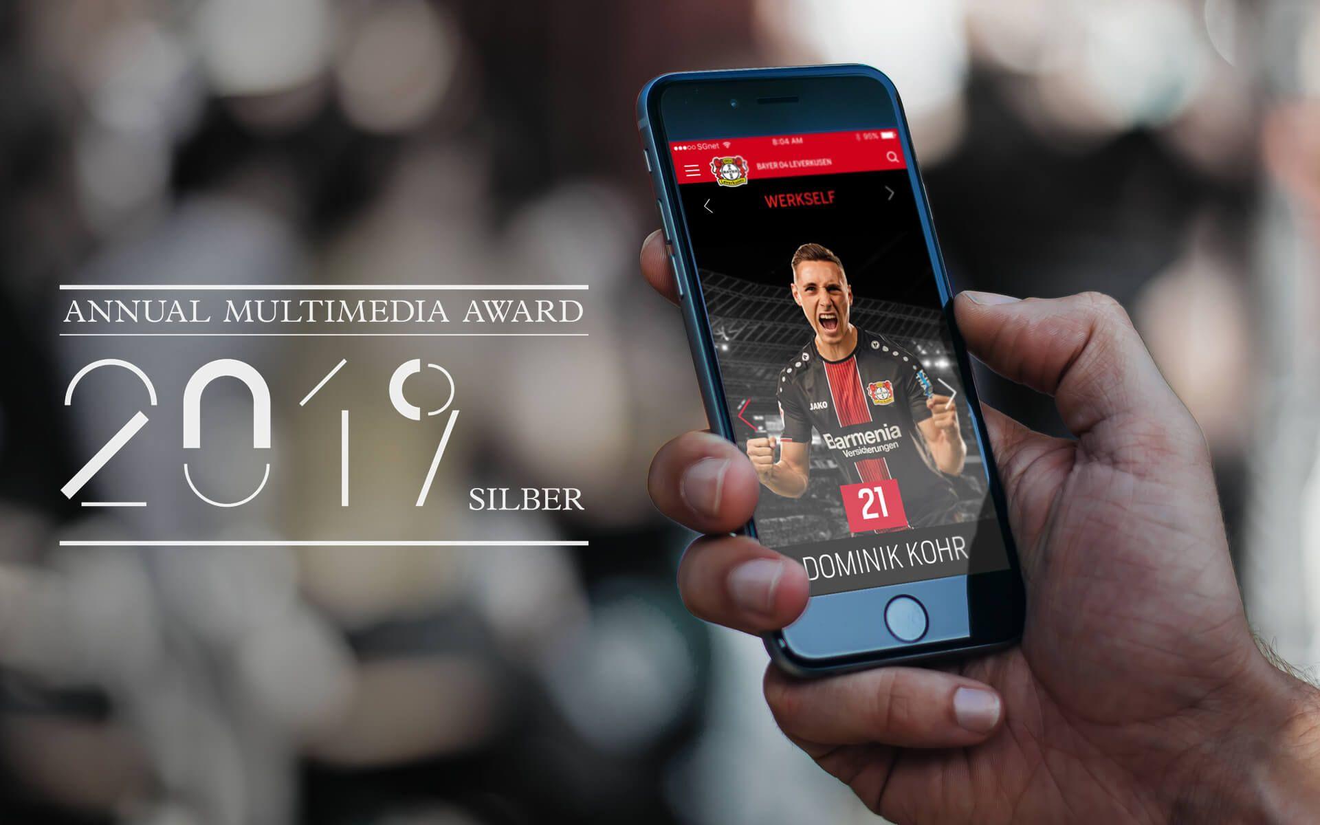 Annual Multimedia Award 2019 für die Gestaltung der Website von Bayer 04 Leverkusen