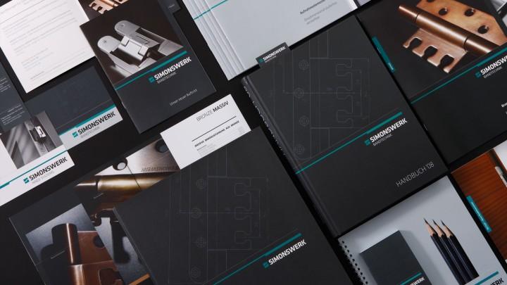 Simonswerk Corporate Design, Broschürengestaltung, Übersicht der Kommunikationsmittel